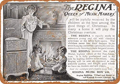 OURTrade 8 x 12 Tin Metal Sign - Vintage Look 1903 Regina Music Boxes Farm Music Box