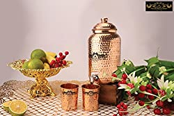 Crockery Wala and Company Premium Quality 4 Ltr Copper Water Dispenser with Designer Copper Knob And Two Copper Hammered Glasses, 99.5% Pure Copper matka for kitchen enhances health, perfect drink ware set