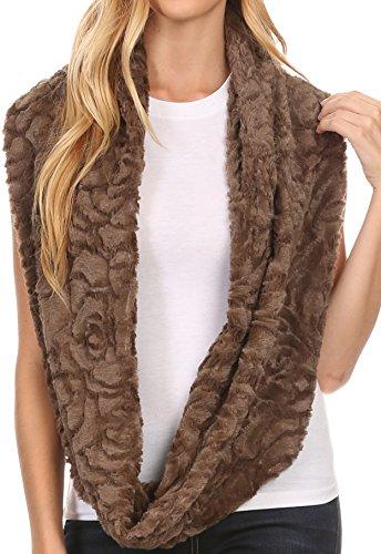 Sakkas 16102 - Mellah Lange breite weiche Fuzzy Furry Pelz Unendlichkeit Herbst-Winter-Verpackungs-Schal - Brown - ()