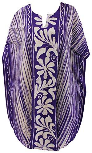 La Leela dames à la main en pur coton batik tunique lâche soirée décontractée robe courte robes de robe de nuit bikini kimono maillots de bain boho couvrent loungewear beachwear short caftan violet