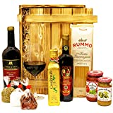 Großes Italienisches Geschenkset mit Holzkiste | Geschenkkorb mit Wein und Delikatessen