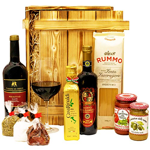 Geschenkset Florenz Großer Italien Geschenkkorb mit Holzkiste, Wein und italienischen Spezialitäten