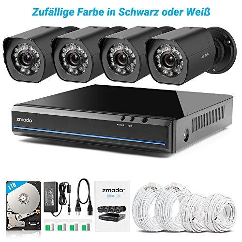 Zmodo Mini Kit 4Channel G2SPOE–HD 720p Caméra de surveillance avec système de 4mini caméra IP intérieur/extérieur, ZM-ss7cd8d4S