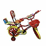 """Rising India 14"""" Red Kids Bicycle For 3-5 Years Double Seated With Basket And Side Wheel. (Red)"""
