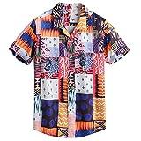 Uomo Camicia Hawaiana Ginli Camicia Etnica Uomo Stampa Tradizionale Hippy Boho Camicia Uomo Eleganti Slim Fit Casual Manica Corta T-Shirt
