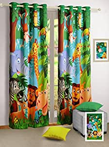 "Swayam Curtain Concept Digitally Printed Faux Silk Window Curtain - 48""x60"", Multicolor (KCURW-134 JUNGLE )"