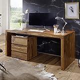 FineBuy Schreibtisch Massiv-Holz Sheesham Computertisch 200 cm breit Echtholz Design Ablage Büro-Tisch Landhaus-Stil Natur-Produkt Büro-Möbel dunkel-braun Modern Büroeinrichtung rechteckig 76 cm hoch