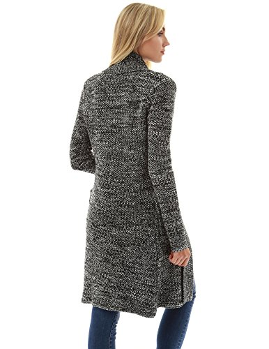 PattyBoutik Damen Offene Fronttasche mit Strickjacke schwarz und elfenbein