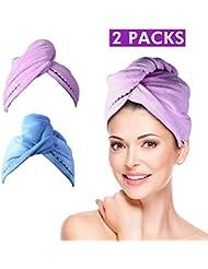 2 Pack Haar Handtuch (Lila & Blau), Wrap Turban, Haarturban, Kopfhandtuch Baumwolle, Mikrofaser-Haartuch, schnell Magic Trockner, Super saugfähig, super nach Bad und Dusche - Duomishu
