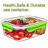 Frischhaltedosen Mikrowelle Lunchbox 100% bpa frei Luftdicht Auslaufsicher mit 2 fächern sicher für Gefrierschrank und Spülmaschine,Tritan (1,68 Liter, Rechteck, Grün)