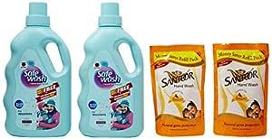 Safewash Liquid Detergent for Woolen - 1 kg (Buy 1 Get 1 Free) with Free Santoor Hand Wash - 360ml