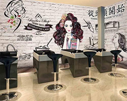 Papel Pintado Papel De Pared 3D Wallpapercustom Pared De Ladrillo Peluquería Imagen Dibujada A Mano Tienda De Belleza Tienda De Manicura Animado De Dibujos Animados Papel Tapiz Moderno