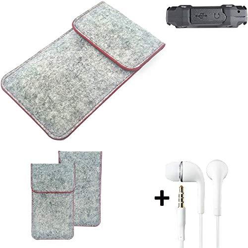 K-S-Trade® Filz Schutz Hülle Für -simvalley Mobile SPT-210- Schutzhülle Filztasche Pouch Tasche Handyhülle Filzhülle Hellgrau Roter Rand + Kopfhörer