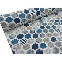 Confección Saymi Tela loneta Estampada 2,45 MTS Ref. Panal Azul, Doble Ancho