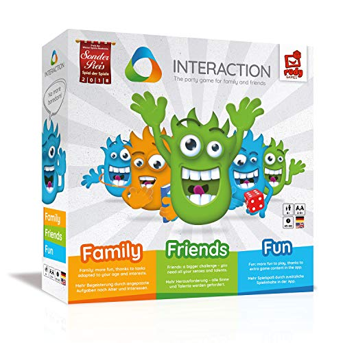 INTERACTION - das ultimative Familienspiel & Partyspiel - interaktiv - spannend - lustig I rudy games Brettspiel mit App ab 8 Jahren, für 2 - 9 Spieler I Gemeinschaftsspiel Unterhaltungsspiel