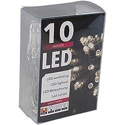 10er LED-Lichterkette Batteriebetrieb warmweiss + Timer transparentes Kabel (20102)