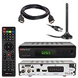 HB DIGITAL DVB-T/T2 Set: Opticum HD Terra HD 265 Plus HEVC DVB-T/T2 Receiver + Stabantenne passiv & Magnetfuß & 3m Kabel (Full HD 1080p HEVC/H.265 HDTV HDMI USB 2.0 SCART Coaxial-S/PDIF DVBT2 DVB-T2)