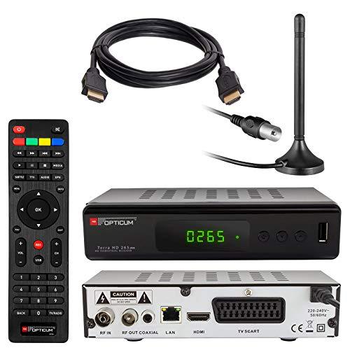 HB DIGITAL DVB-T/T2 Set: Opticum HD Terra HD 265 Plus HEVC DVB-T/T2 Receiver + Stabantenne passiv & Magnetfuß & 3m Kabel (Full HD 1080p HEVC/H.265 HDTV HDMI USB 2.0 SCART Coaxial-S/PDIF DVBT2 DVB-T2) -
