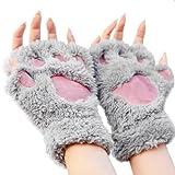 Katomi de otoño e invierno del dedo medio guantes de los guantes de la garra de oso de la garra del gato lindo de la historieta caliente de espesor