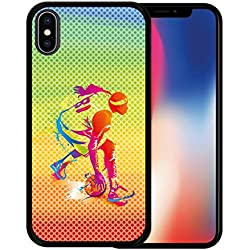 Funda iPhone X, [iPhone X ] Funda Silicona Gel Flexible Jugador de Baloncesto Multicolor, Carcasa Case TPU Silicona - Negro