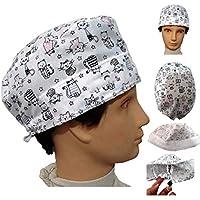 OP-Kappe KÄTZCHEN Weiß für kurze haare Art des Mannes Chirurg Zahnarzt Tierarzt kochen Absorbierend auf der Stirn Hintere Einstellung mit Spanner