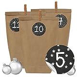 Image of Papierdrachen 24 Adventskalender Kraftpapiertüten, Zahlenaufkleber und Klammern - DIY Set zum selber Basteln und zum Befüllen für Männer - Design 16