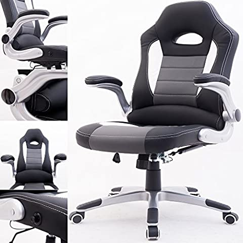 RayGar Black 2017 Supreme Padded Sports Racing Chair Gaming Executive Swivel Computer Desk Recliner Office Chair - New