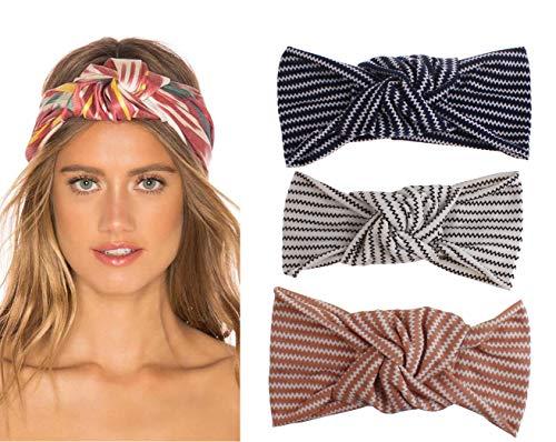 Tukistore 3 Stück Damen Elastische Blume Gedruckt Stirnbänder Weiche Kopfband Haarband Turban Baumwolle Haarschmuck Kopf-Verpackungs