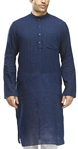 Manyavar Men's Knee Long Cotton Kurta (8903035060709_ML11744-326-XL_Blue)