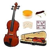 4/4 Full Size Akustische Violine, Starke Wind Massivholz Natur Lack Violine Anfänger Kit mit Hard Case, Schulterstütze, Bogen, Rosin für Starter Studenten Erwachsene Kinder