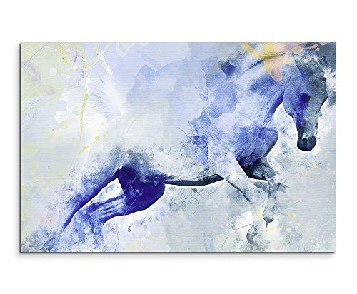 Bild Leinwand 120x80cm Fliehendes Pferd in Blautönen