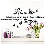 Wandaro W3305 Wandtattoo Spruch Leben heißt I Schwarz 70 x 32 cm I Schmetterlinge Flur Wandaufkleber Wohnzimmer Selbstklebend Aufkleber Wandsticker