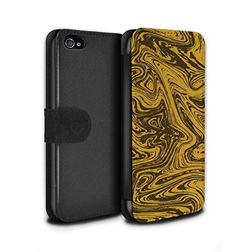 Stuff4 Coque/Etui/Housse Cuir PU Case/Cover pour Apple iPhone 4/4S / Argent Design / Effet Métal Liquide Fondu Collection Or