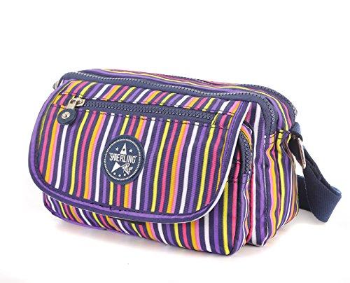 Sterling Rye - Borsa a tracolla unisex adulto donna Multicoloured stripes