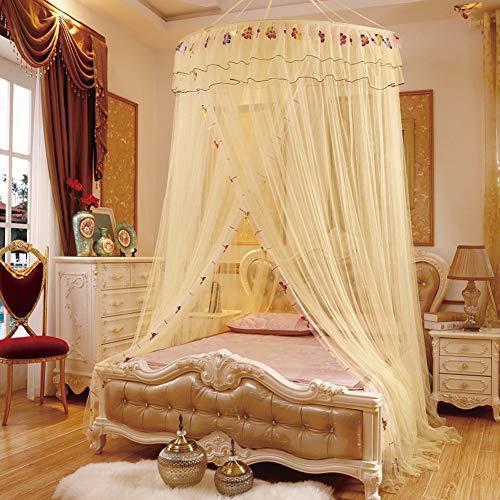 sin Hängend Moskitonetz, King Size Lace Dome Einzeltür Mückennetz Betthimmel Schnelle Und Einfache Installation Einzelbett Doppelbett Universal,Beige ()