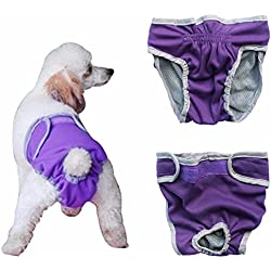 iEFiEL Pañal Reutilizable Lavable para Perros Braguita Suave para Mascota Perro Gato Ajustable Permeable al Aire Morado M