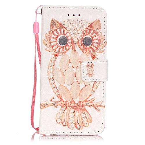 Custodia iPhone 7, Gray Plaid Design [Slot Schede] 3D Bling Custodia in pelle Protettiva Flip Cover per iPhone 7 - Feather Tribal Shell Owl