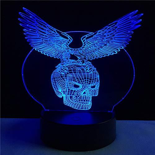 loween Decor Eagle Skull Alien 3D Night Light LED Tischlampe LED Mood Multicolor Kids Toy Geschenke ()