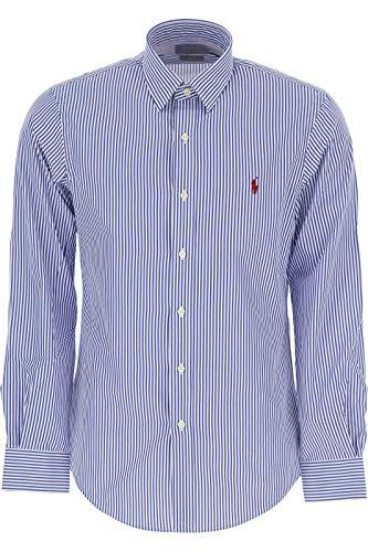 Ralph lauren camicia slim fit cotton stretch a righe blu (l)