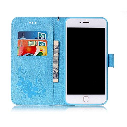 iPhone 8 Étui en cuir, iPhone 7 Housse de portefeuille, Lifetrut [Papillons en relief] Design Flip Folio portefeuille en cuir couverture de cas pour iPhone 8 / iPhone 7 [Bleu] E202-Bleu