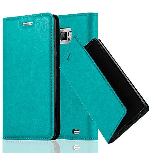 Cadorabo Custodia Libro per Samsung Galaxy S2 / S2 Plus in Turchese Petrolio – con Vani di Carte, Funzione Stand e Chiusura Magnetica – Portafoglio Cover Case Wallet Book Etui Protezione