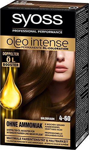 Syoss Oleo Intense 4-60 Goldbraun Haarfarbe, 3er Pack (3 x 115 ml)