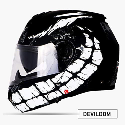 Berrd Nuovo Motociclo Motociclo Motociclo Casco fuoristrada Casco protettivo per casco, parapolvere, doppia lente DEVILDOM XXL
