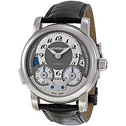 Mont Blanc Nicolas Rieussec - Reloj (Reloj de pulsera, Masculino, Acero inoxidable, Negro, Acero inoxidable, Piel de cocodrilo, Negro)