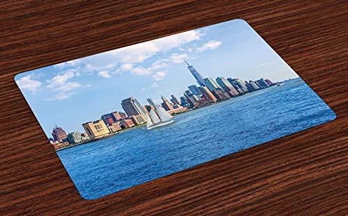 Tapis de voiliers, ciel de Manhattan New York Sunshine USA photographie de gratte-ciel de ciel dégagé, napperons en tissu lavables pour le décor de table de cuisine de salle à manger , Set of 6