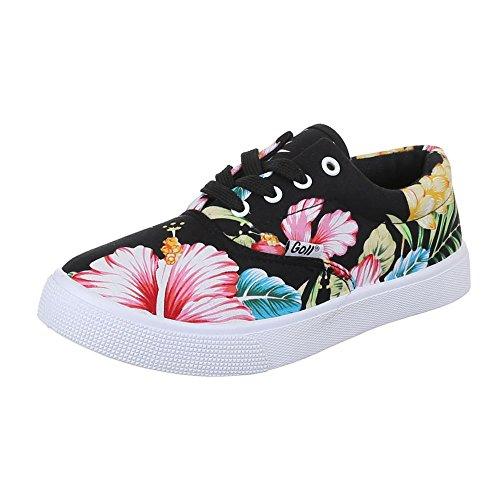 Ital-Design - Pantofole Donna Multicolore (Nero/Multicolore)
