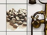 creatisto Badezimmerfliesen | Dekor-Fliesensticker Fliesen dekorieren Dekofolie Badgestaltung | 15x20 cm Design Motiv Coffee Beans - 1 Stück