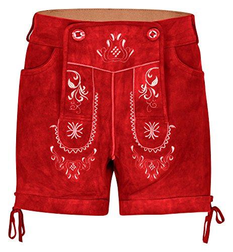 Kurze Hirschberger Damen Trachten Lederhose Ziegenleder rot