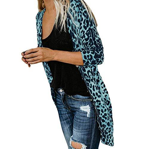 Zolimx Damen Langarm Leopard Print Mode Lange Mantel Bluse T-Shirt Cardigan Tops
