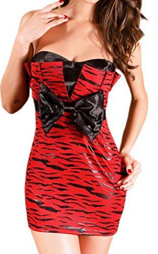 Bigood Robe Bustier Femme Faux Cuir Mini-robe Cocktail Soirée Club Chic Rouge